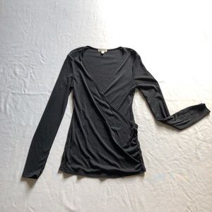 Anthropologie black blouse sz:S faux wrap sweater